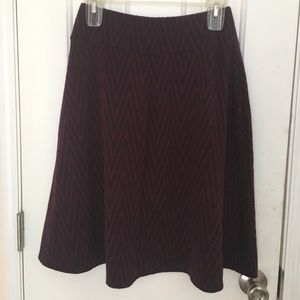 Joe B midi chevron maroon and black midi skirt